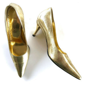 J RENEE Gold Pumps